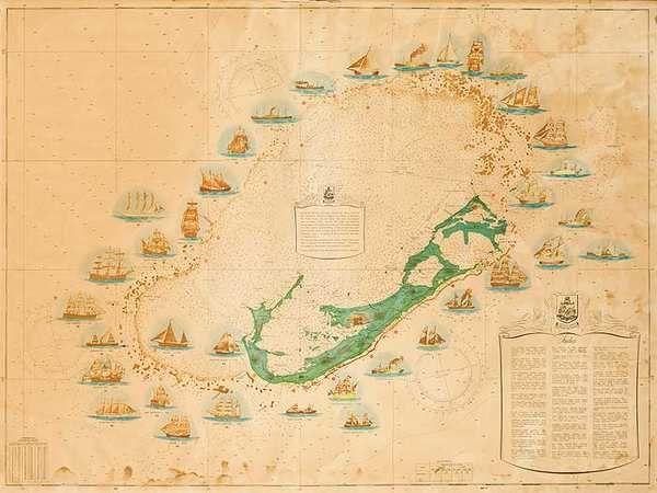 vintage map bermuda triangle