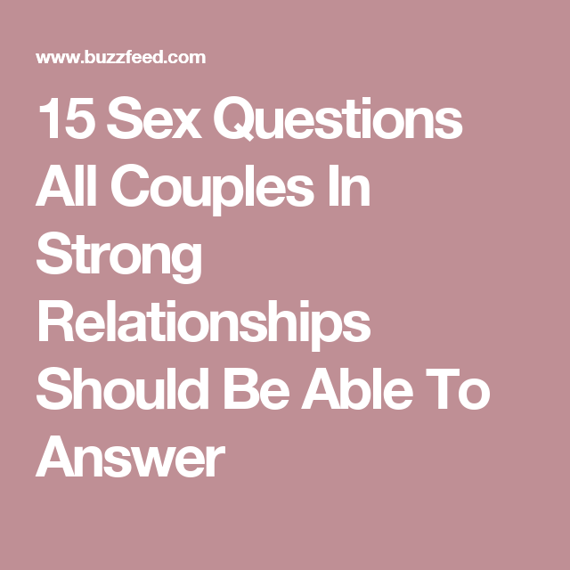 sex relationship questions