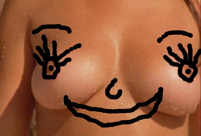 with smiley face boobs