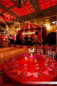 adult party decorating circus outside an